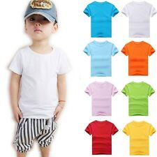 New Kids Childrens Boys Girls Plain T Shirt Cotton 9 Colours