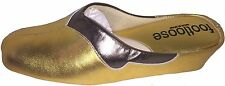WEDGE LEATHER SPANISH SLIPPERS 2 TONE OLDGOLD /PEWTER FOOTLOOSE BY RELAX COMFORT