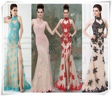 Sexy Appliques Long Halter Cocktail Party Dress Formal Evening Prom wedding Gown