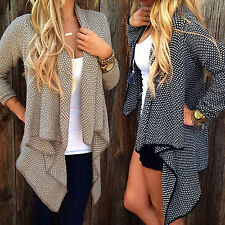 New Women's Casual Long Sleeve Waterfall Cape Cardigan Sweater Trench Coat Tops