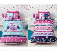 Pretty Owl Doona Quilt cover Set Single or Double Size Girls Reversible New