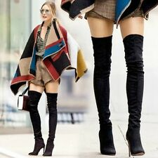 Gisele-7 Thigh High Stretchy Suede Material Pointy Toe Stiletto Heel Boots Black
