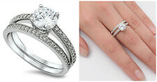 .925 Sterling Silver 7MM BRIDAL WEDDING SET ROUND DESIGN CLEAR CZ RING SIZE 5-10