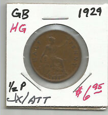 1929 Great Britain Half Penny - Nice Extremely Fine  - Nice Color & Surfaces