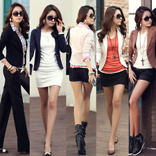 Womens Slim Short One Button Suit Blazer Long Sleeve OL Outwear Jacket Coat Tops