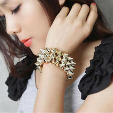 Fashion Gothic Rock Punk Studs Spike Rivets Bangle Elastic Stretch Bracelets