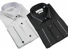 Mens Slim Fit White Black Fitted Cotton Button Dress Shirt Smart Casual Italian