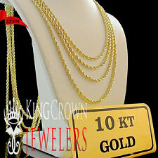 MEN'S WOMEN'S REAL 10K YELLOW GOLD HALLOW ROPE CHAIN NECKLACE 2.51 MM 18~28 INCH