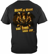Erazor Bits T-Shirt - Firefighter Home is Where You Hang Your Hat - Black