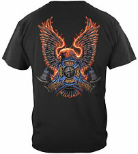 Erazor Bits T-Shirt - Fire Fighter - Volunteer FireFighter - Fire Eagle - Black
