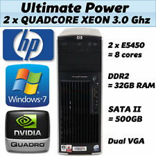 HP Quad Core 3.00Ghz 32GB RAM 64-Bit Windows 7 Desktop PC Tower XW6600 750GB