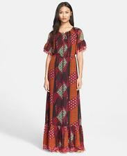 New $698 Diane Von Furstenberg Jane Tribal print silk chiffon maxi dress
