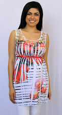 Flower Sublimation White Lace Red Ribbon Maternity Sleeveless Top S M L XL