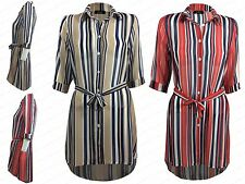 NEW WOMENS LADIES CASUAL STRIPED DIP HEM COLLARED LONG T SHIRT LOOK BLOUSE TOP