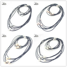 10-12mm Freshwater Pearl 5-Strand Leather Cord Jewelry Necklace Bracelet Set