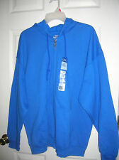 New!! Mens Hoodie Zip Front Sweat Jacket Royal Blue Hooded Fleece GILDAN SIZE XL
