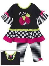 Rare Editions Black White Pink Ladybug Striped Legging Set  12 18 24 Months