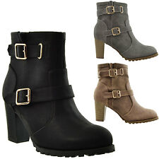 Womens Ankle Boots Combat Fold Over Fleece Cuff Lace Up Chunky High Heel Black