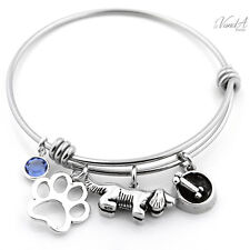 Expandable Stainless Steel Bangle bracelet Sterling Silver Dog charm Birthstone