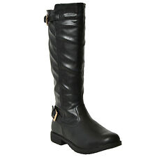 Womens Riding Knee High Boots Casual Western Double Adjustable Buckles Lug Black