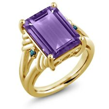 7.13 Ct Octagon Purple Amethyst Blue Diamond 18K Yellow Gold Plated Silver Ring