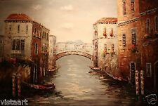 """High Quality Oil Painting on Stretched Canvas 24x36"""" - Stunning Bridge in Venice"""