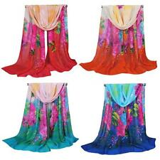 Women Fashion Long Style Wrap Lady Shawl Floral Chiffon Scarf Scarves Stole OP2P