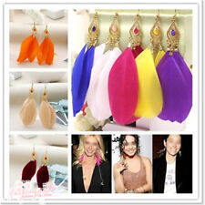 Chic Popular Handmade Earring 3Pcs Goose Feather Women Dangle Hook Eardrop 1Pair