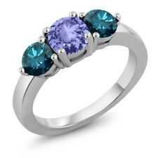 2.00 Ct Round Blue Tanzanite Blue Diamond 925 Sterling Silver Ring