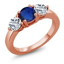 2.20 Ct Round Simulated Sapphire White Topaz 18K Rose Gold Plated Silver Ring