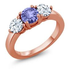 2.40 Ct Round Blue Tanzanite 18K Rose Gold Plated Silver Ring