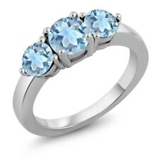 2.59 Ct Round Sky Blue Topaz 925 Sterling Silver 3-Stone Women's Ring