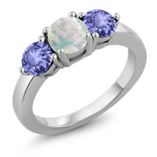 1.57 Ct Round White Simulated Opal Blue Tanzanite 925 Sterling Silver Ring