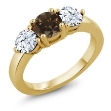 2.30 Ct Round Brown Smoky Quartz 18K Yellow Gold Plated Silver Ring