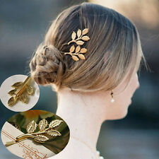 2PCS Elegant Gold Leaf Hair Cuff Clip Jewelry Hairpin Womens Accessories Gift CN