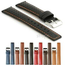 StrapsCo Rally Racing Perforated Leather Watch Strap Mens Band