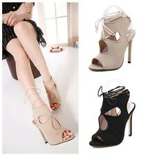 Popular Suede Peep-toe Strappy Cut Out High Heels Sandals Women's Pumps Shoes