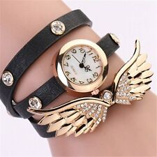 Women's Angel Wings Pendant Faux Leather Bracelet Quartz Dial Wrist Watch NEW