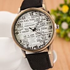 Fashion Women Men's Fabric Band Letter Sport Analog Quartz Movement Wrist Watch