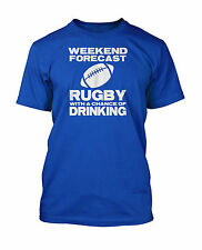 Weekend Forecast Funny T-Shirt Rugby Drinking Worldcup 2015 in 10 Colours S-3XL