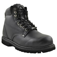 Mens Boots Oil Resistant Steel Toe Genuine Leather Hiking Padded Shoes Black