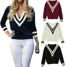 Women V Neck Long Sleeve Knitted Pullover Jumper Loose Sweater Knitwear Top Q1KW