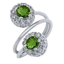 1.60 Ct Round Green Chrome Diopside 925 Sterling Silver Ring