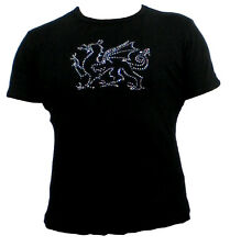 Ladies Diamonte Welsh Dragon black fitted T shirt top