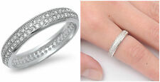 Sterling Silver 925 ETERNITY PAVE SETTING CLEAR CZ WEDDING BAND 4MM RING S4-10