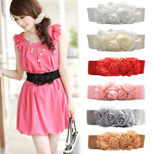 New Women Lady Double Rose Flower Buckle Elastic Wide Waist Band Corset Belt