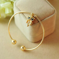 Top Sale Women Owl Rhinestone Gold Silver Plated Charming Cuff Bracelet Bangle