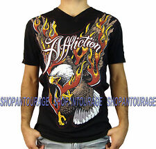 AFFLICTION Wings Of Flames A11856 New Men`s Black V-Neck T-shirt