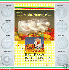 Popeil's Ronco P400 Dough Maker PASTA SHAPING DIES ✚ Recipes & Instructions BOOK