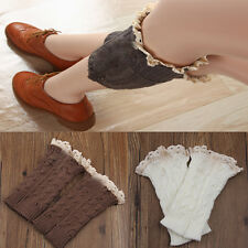 Women's  retro Crochet Knitted Lace Trim Boot Cuffs Toppers Leg Warmers Socks